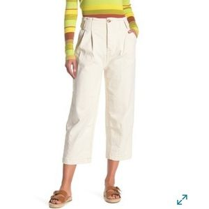 Free people pleated wide crop casual pants ivory